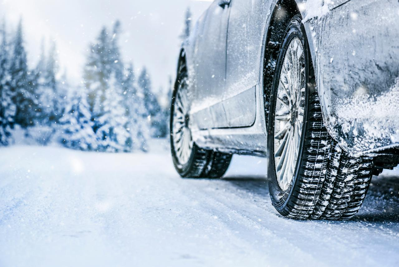 winter tires in snow