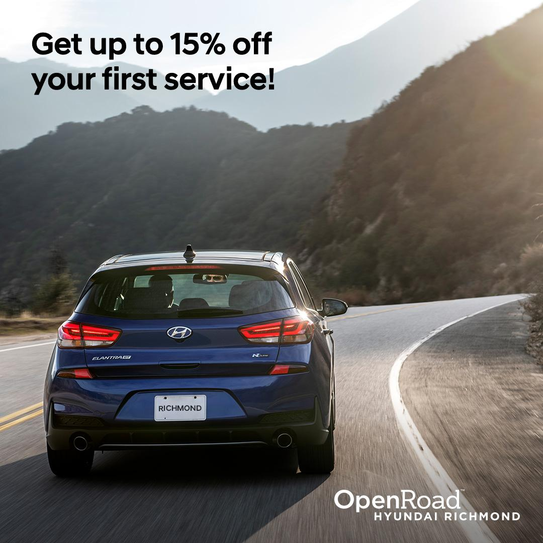 15% Off your next service in OpenRoad Hyundai Richmond