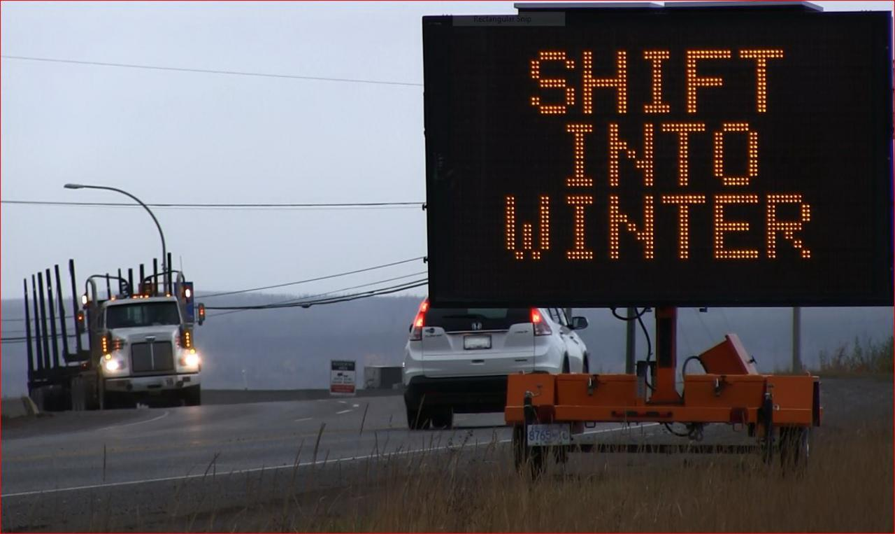 b.c. shift into winter mode road sign